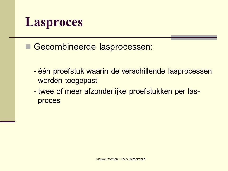 Nieuwe normen - Theo Bemelmans Lasproces  Gecombineerde lasprocessen: - één proefstuk waarin de verschillende lasprocessen worden toegepast - twee of