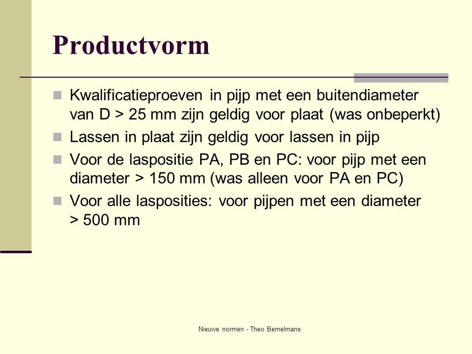 Nieuwe normen - Theo Bemelmans Productvorm  Kwalificatieproeven in pijp met een buitendiameter van D > 25 mm zijn geldig voor plaat (was onbeperkt) 