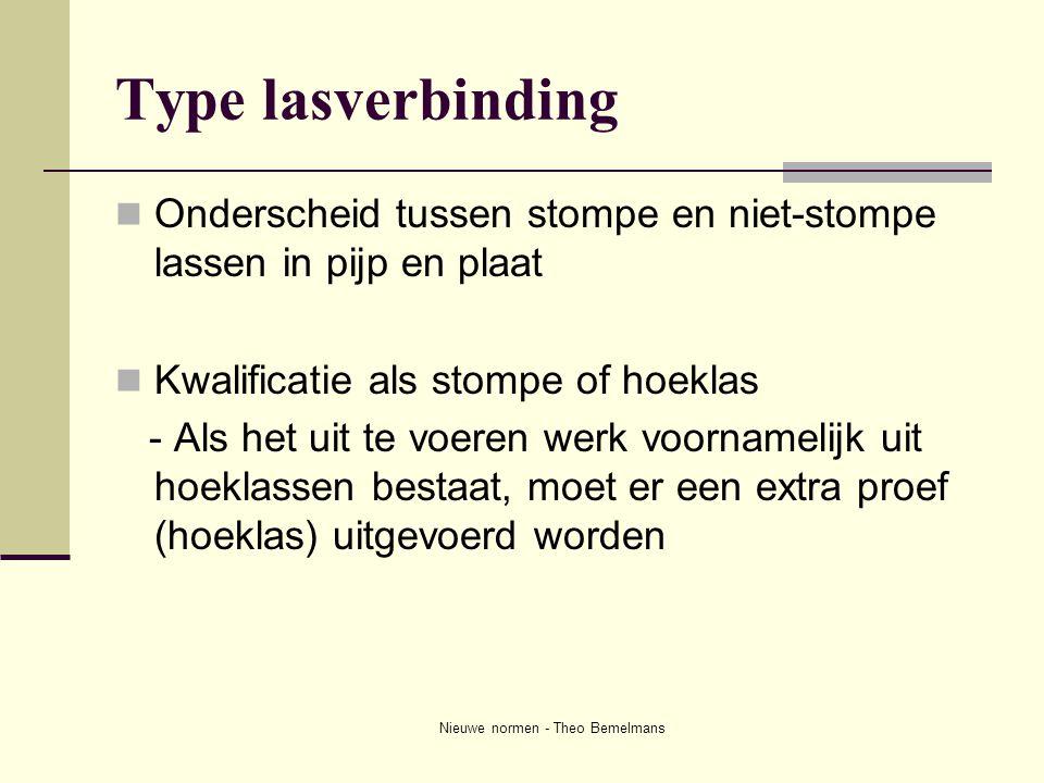 Nieuwe normen - Theo Bemelmans Type lasverbinding  Onderscheid tussen stompe en niet-stompe lassen in pijp en plaat  Kwalificatie als stompe of hoek