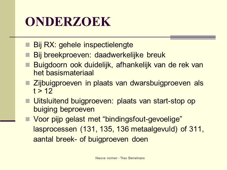 Nieuwe normen - Theo Bemelmans ONDERZOEK  Bij RX: gehele inspectielengte  Bij breekproeven: daadwerkelijke breuk  Buigdoorn ook duidelijk, afhankel