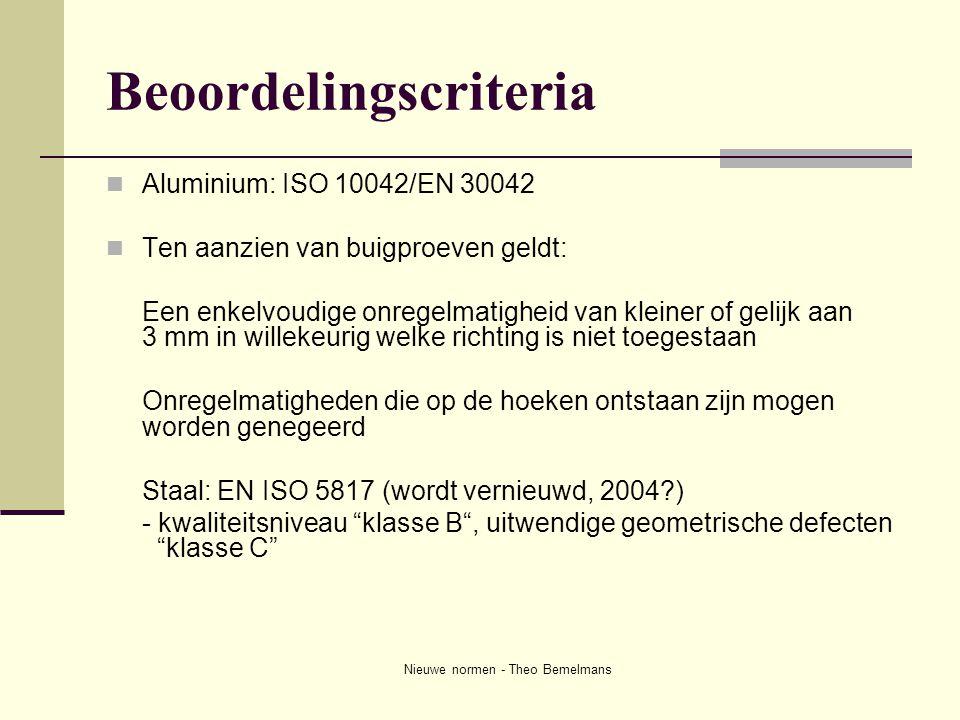 Nieuwe normen - Theo Bemelmans Beoordelingscriteria  Aluminium: ISO 10042/EN 30042  Ten aanzien van buigproeven geldt: Een enkelvoudige onregelmatig