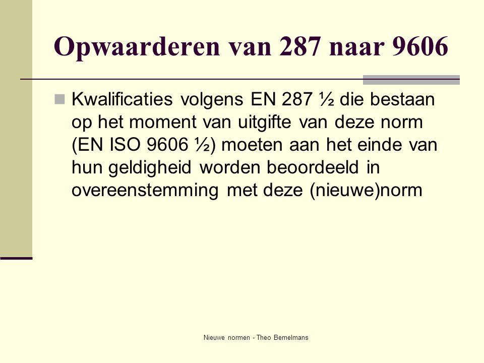 Nieuwe normen - Theo Bemelmans Opwaarderen van 287 naar 9606  Kwalificaties volgens EN 287 ½ die bestaan op het moment van uitgifte van deze norm (EN