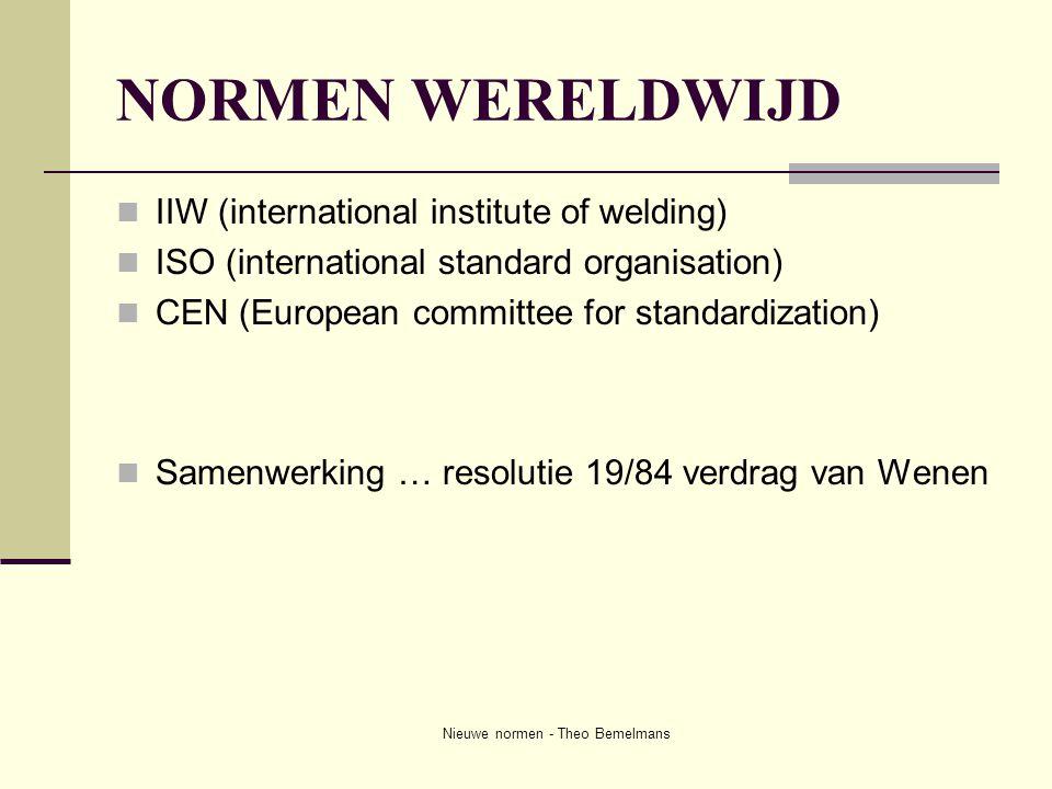 Nieuwe normen - Theo Bemelmans NORMEN WERELDWIJD  IIW (international institute of welding)  ISO (international standard organisation)  CEN (Europea