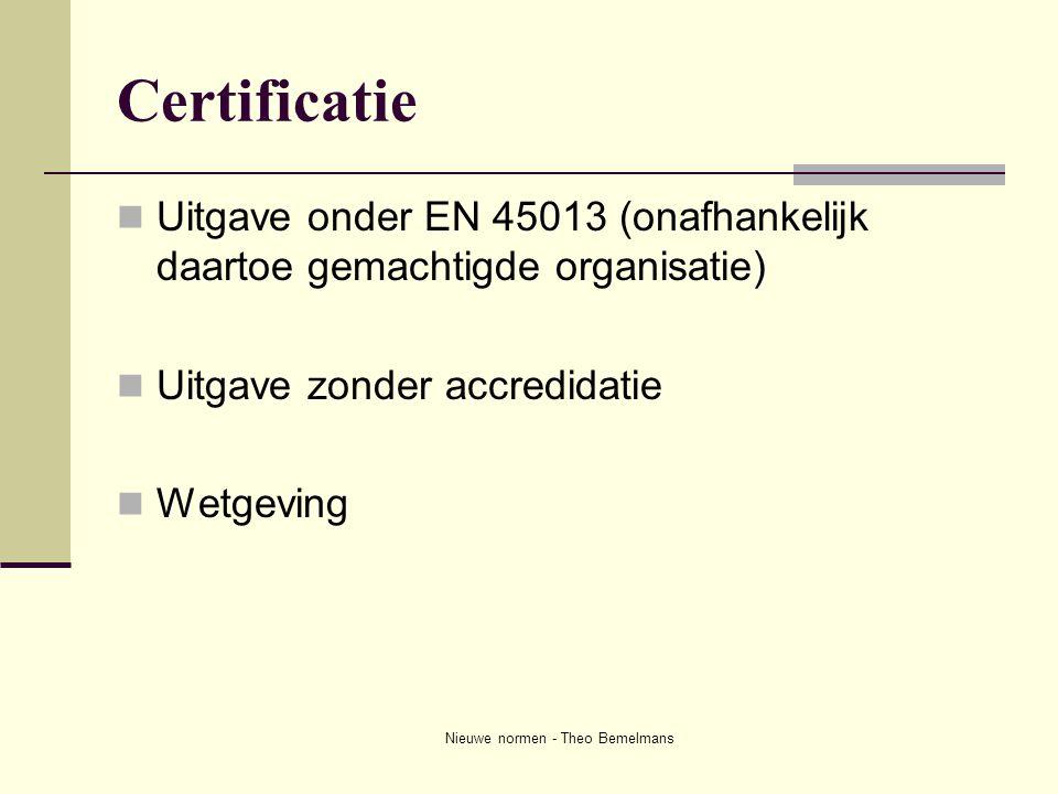 Nieuwe normen - Theo Bemelmans Certificatie  Uitgave onder EN 45013 (onafhankelijk daartoe gemachtigde organisatie)  Uitgave zonder accredidatie  W