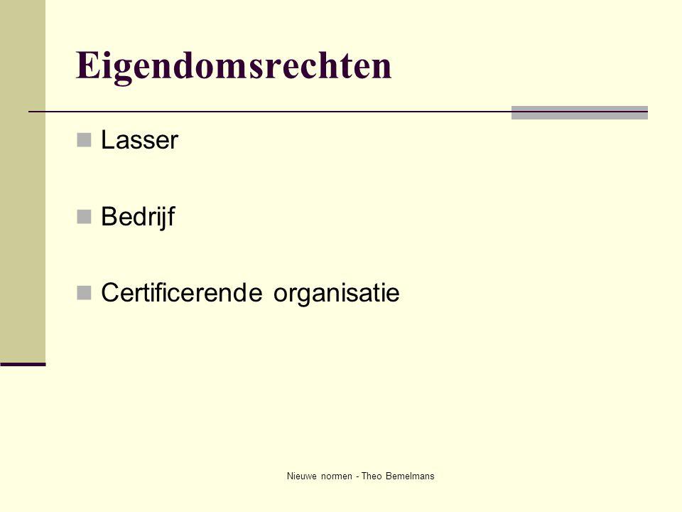 Nieuwe normen - Theo Bemelmans Eigendomsrechten  Lasser  Bedrijf  Certificerende organisatie