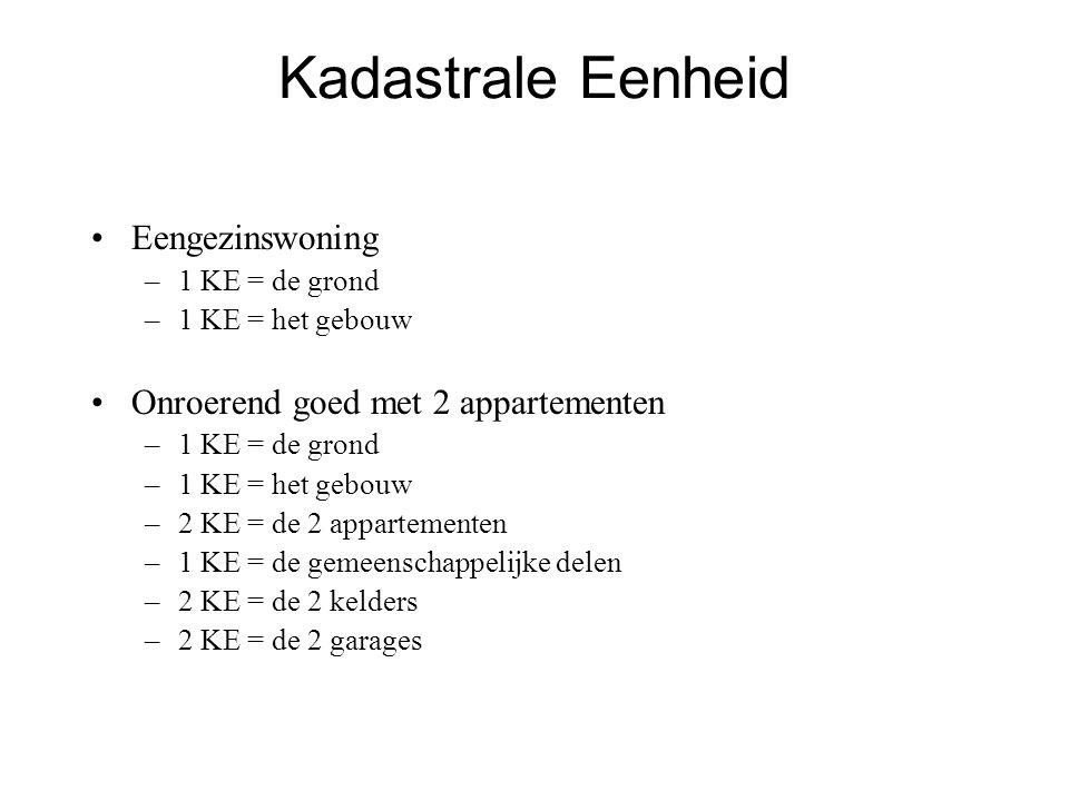 Kadastrale Eenheid •Eengezinswoning –1 KE = de grond –1 KE = het gebouw •Onroerend goed met 2 appartementen –1 KE = de grond –1 KE = het gebouw –2 KE = de 2 appartementen –1 KE = de gemeenschappelijke delen –2 KE = de 2 kelders –2 KE = de 2 garages