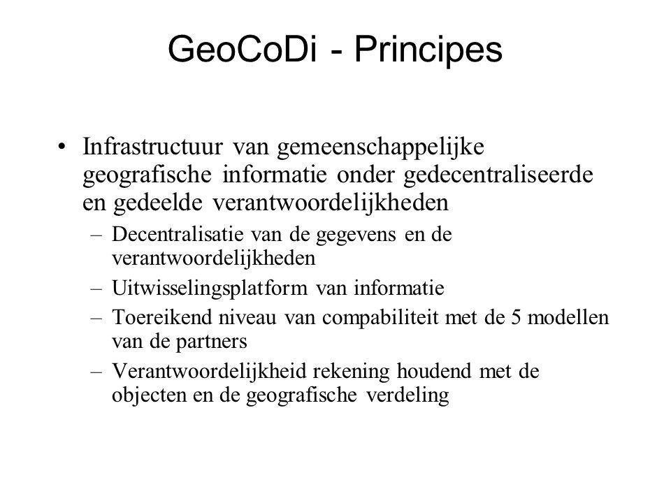 GeoCoDi - Principes •Infrastructuur van gemeenschappelijke geografische informatie onder gedecentraliseerde en gedeelde verantwoordelijkheden –Decentralisatie van de gegevens en de verantwoordelijkheden –Uitwisselingsplatform van informatie –Toereikend niveau van compabiliteit met de 5 modellen van de partners –Verantwoordelijkheid rekening houdend met de objecten en de geografische verdeling
