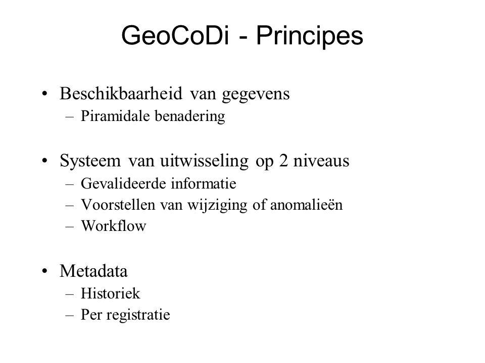 GeoCoDi - Principes •Beschikbaarheid van gegevens –Piramidale benadering •Systeem van uitwisseling op 2 niveaus –Gevalideerde informatie –Voorstellen van wijziging of anomalieën –Workflow •Metadata –Historiek –Per registratie