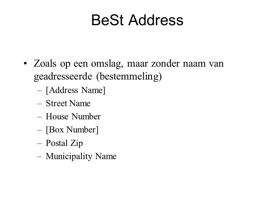 BeSt Address •Zoals op een omslag, maar zonder naam van geadresseerde (bestemmeling) –[Address Name] –Street Name –House Number –[Box Number] –Postal Zip –Municipality Name