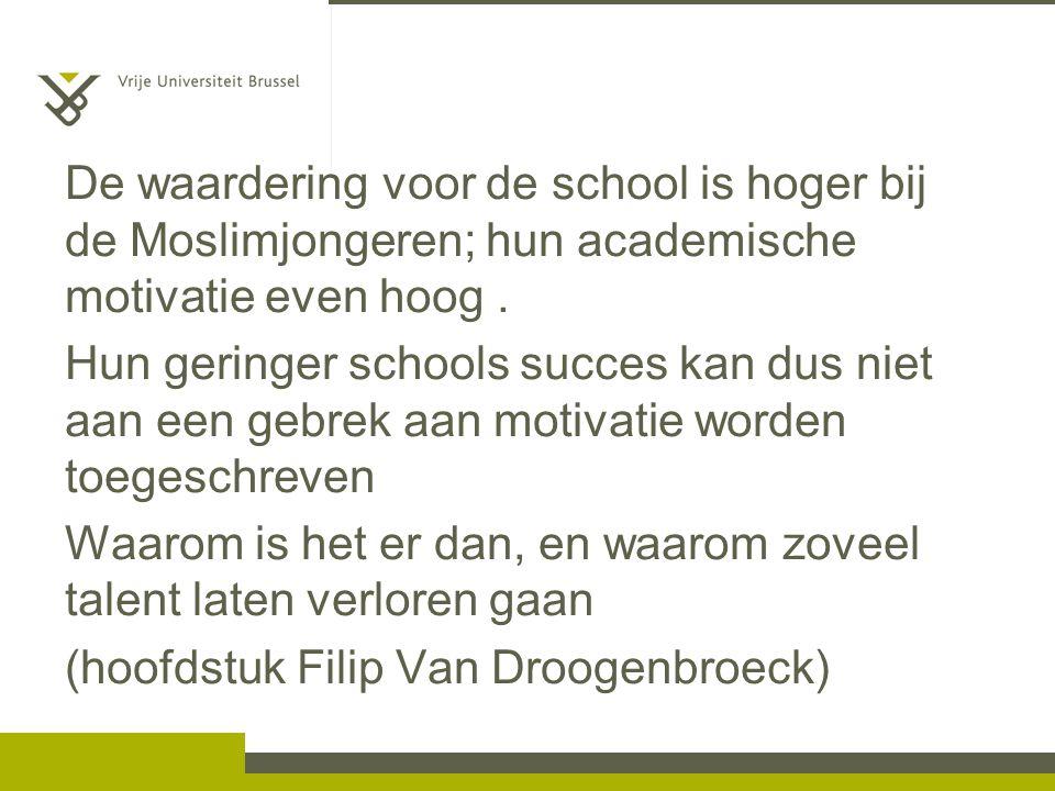 De waardering voor de school is hoger bij de Moslimjongeren; hun academische motivatie even hoog.