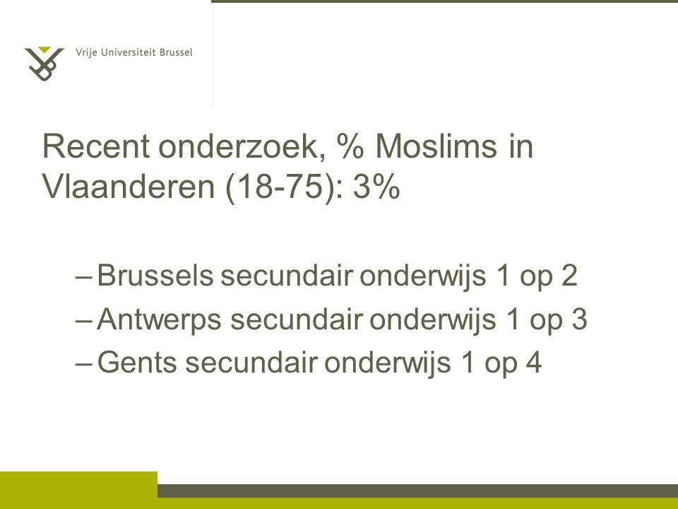 Recent onderzoek, % Moslims in Vlaanderen (18-75): 3% –Brussels secundair onderwijs 1 op 2 –Antwerps secundair onderwijs 1 op 3 –Gents secundair onderwijs 1 op 4