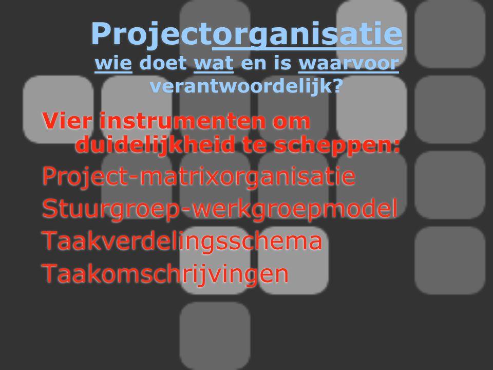 Vier instrumenten om duidelijkheid te scheppen: Project-matrixorganisatie Stuurgroep-werkgroepmodel Taakverdelingsschema Taakomschrijvingen Vier instr
