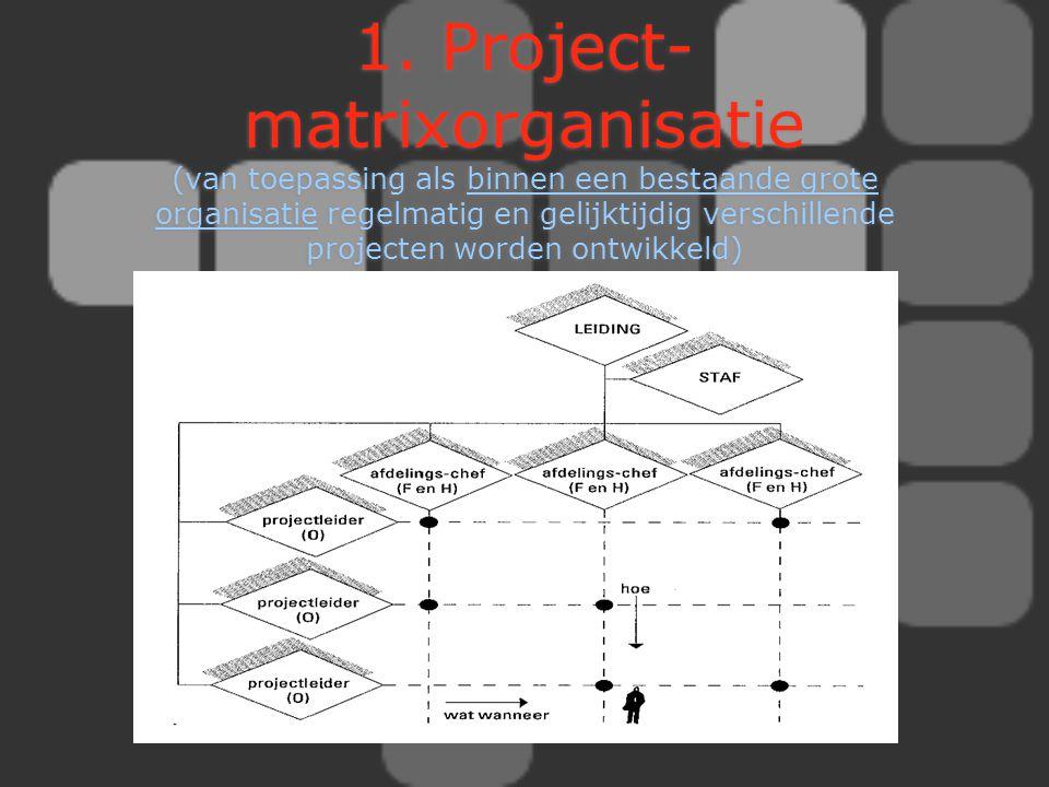 1. Project- matrixorganisatie (van toepassing als binnen een bestaande grote organisatie regelmatig en gelijktijdig verschillende projecten worden ont