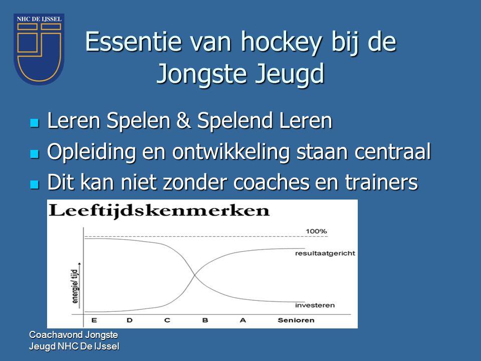 Essentie van hockey bij de Jongste Jeugd  Leren Spelen & Spelend Leren  Opleiding en ontwikkeling staan centraal  Dit kan niet zonder coaches en tr