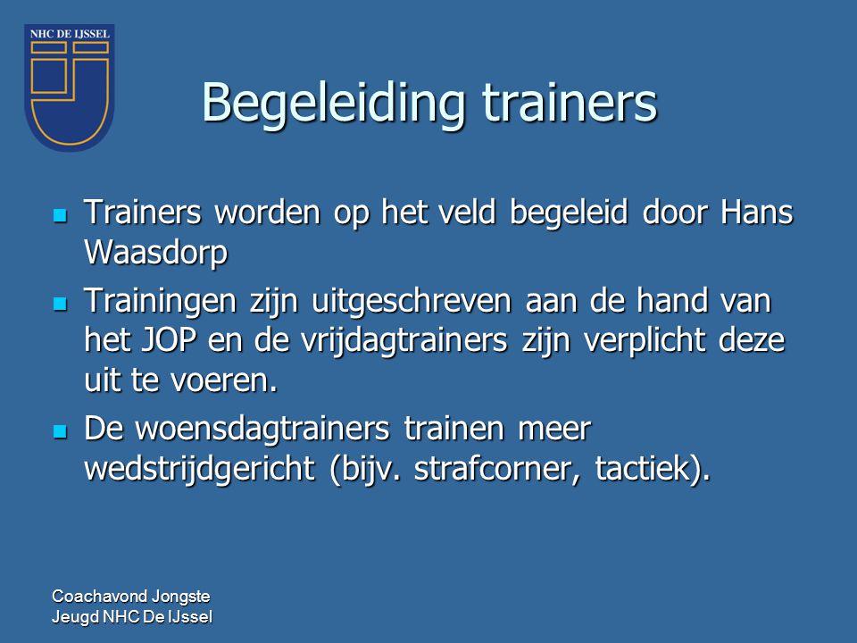 Begeleiding trainers  Trainers worden op het veld begeleid door Hans Waasdorp  Trainingen zijn uitgeschreven aan de hand van het JOP en de vrijdagtr