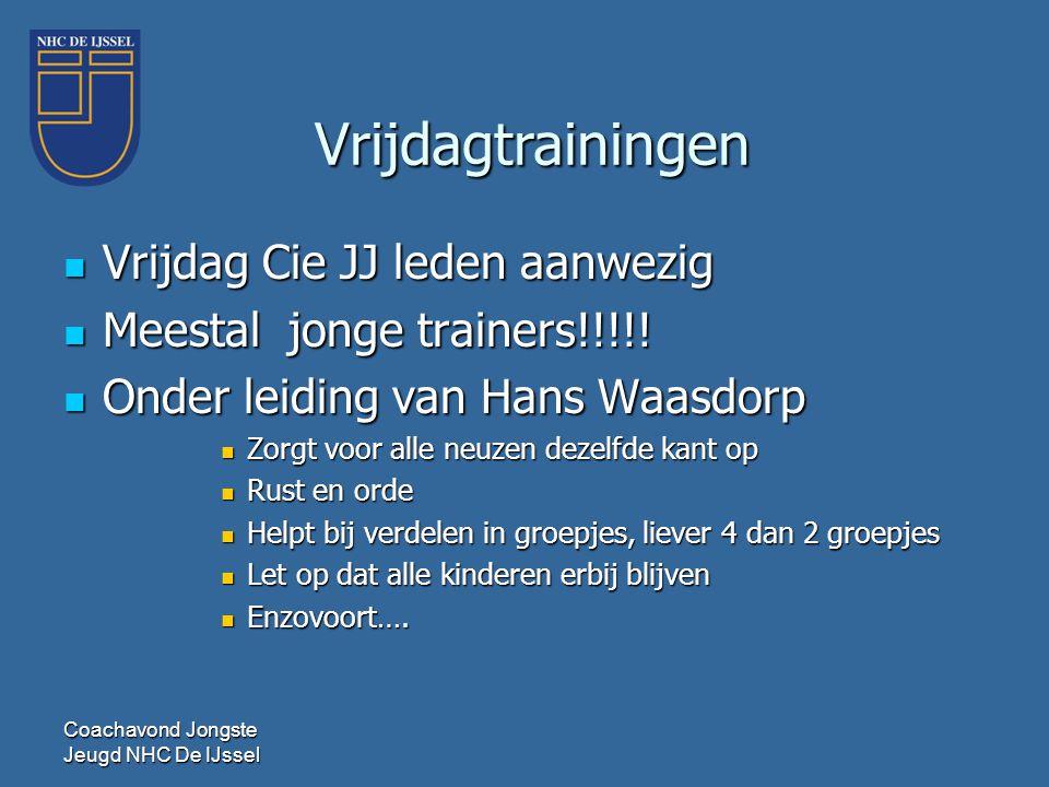  Vrijdag Cie JJ leden aanwezig  Meestal jonge trainers!!!!!  Onder leiding van Hans Waasdorp  Zorgt voor alle neuzen dezelfde kant op  Rust en or