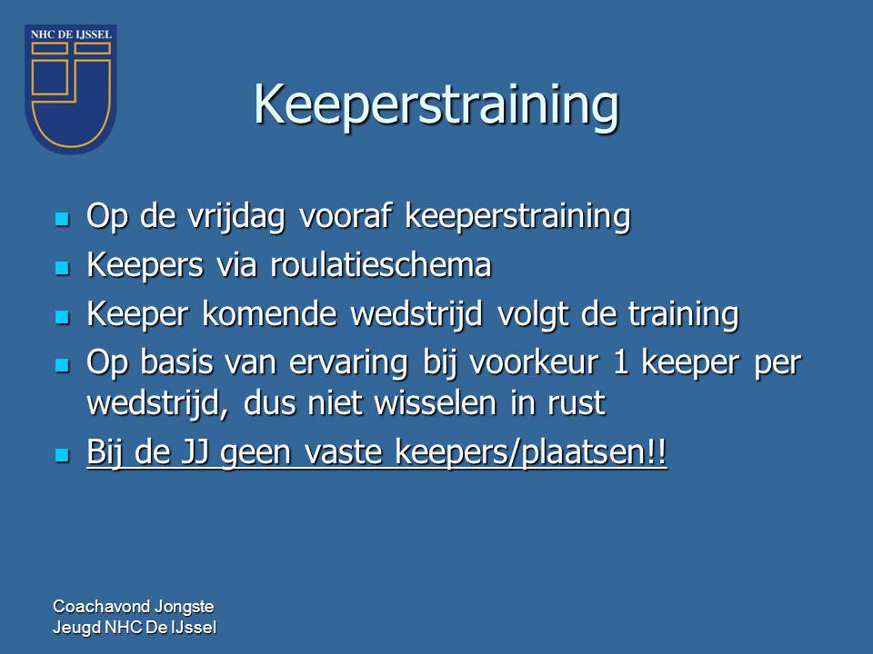Keeperstraining  Op de vrijdag vooraf keeperstraining  Keepers via roulatieschema  Keeper komende wedstrijd volgt de training  Op basis van ervari