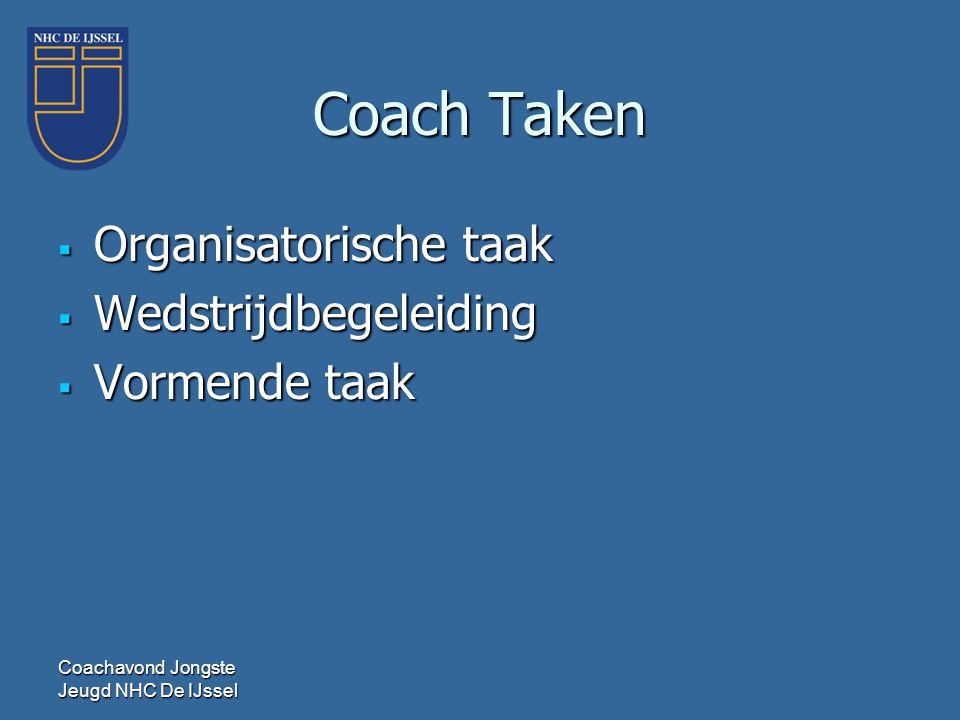 Coach Taken  Organisatorische taak  Wedstrijdbegeleiding  Vormende taak Coachavond Jongste Jeugd NHC De IJssel