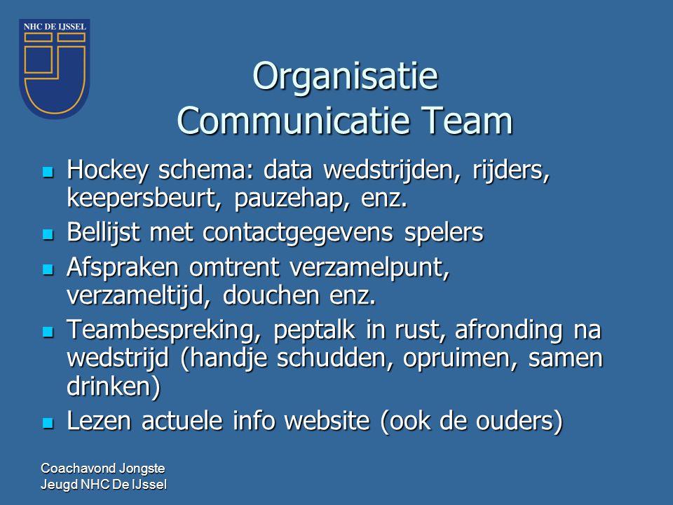 Organisatie Communicatie Team  Hockey schema: data wedstrijden, rijders, keepersbeurt, pauzehap, enz.  Bellijst met contactgegevens spelers  Afspra