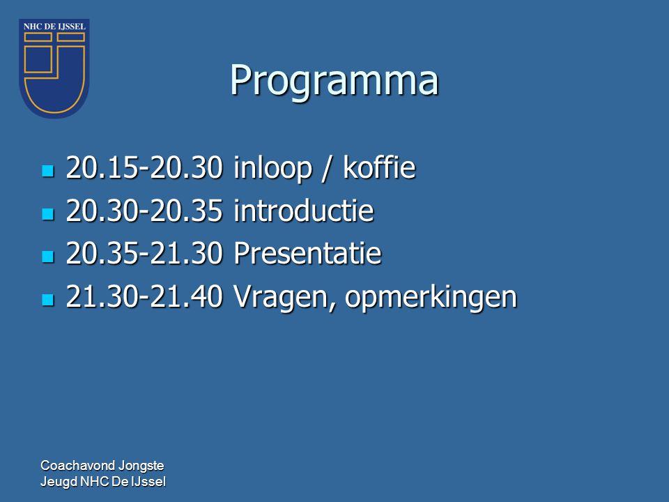 Programma  20.15-20.30 inloop / koffie  20.30-20.35 introductie  20.35-21.30 Presentatie  21.30-21.40 Vragen, opmerkingen Coachavond Jongste Jeugd