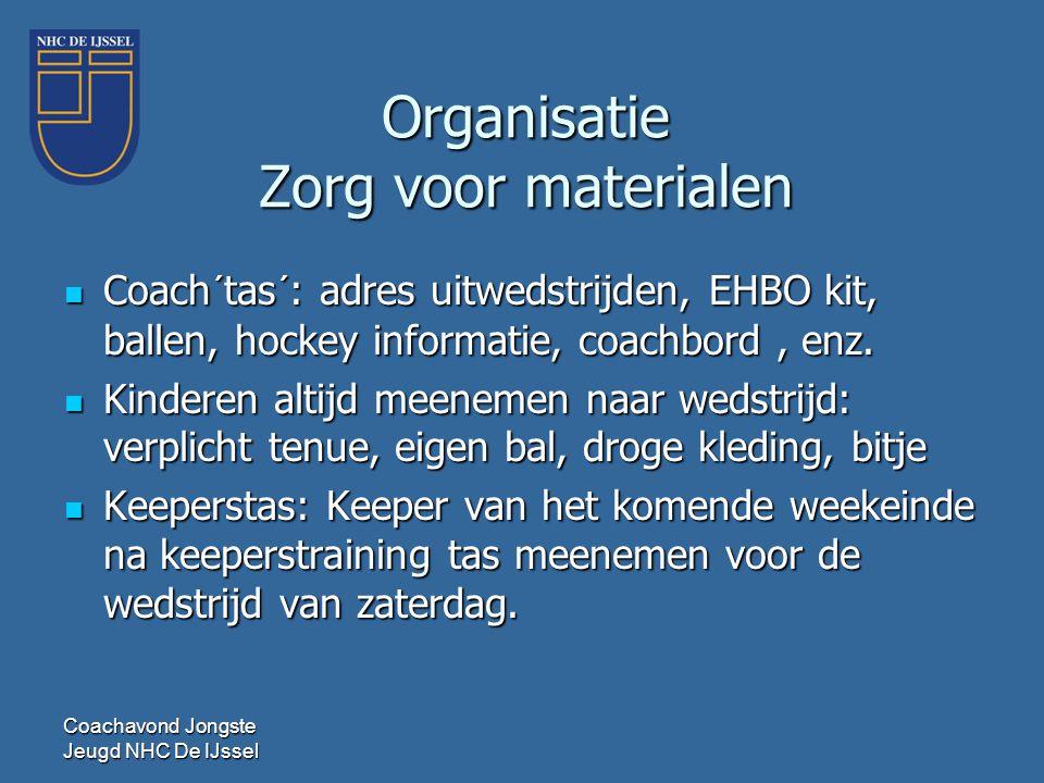 Coachavond Jongste Jeugd NHC De IJssel Organisatie Zorg voor materialen  Coach´tas´: adres uitwedstrijden, EHBO kit, ballen, hockey informatie, coach