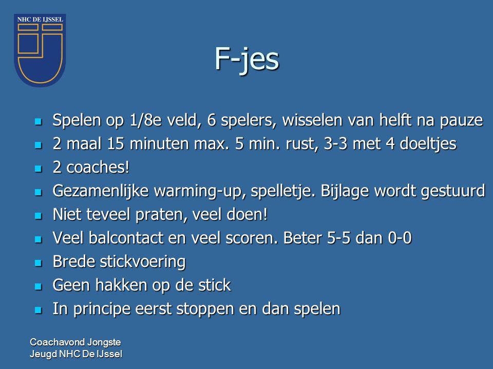 F-jes  Spelen op 1/8e veld, 6 spelers, wisselen van helft na pauze  2 maal 15 minuten max. 5 min. rust, 3-3 met 4 doeltjes  2 coaches!  Gezamenlij