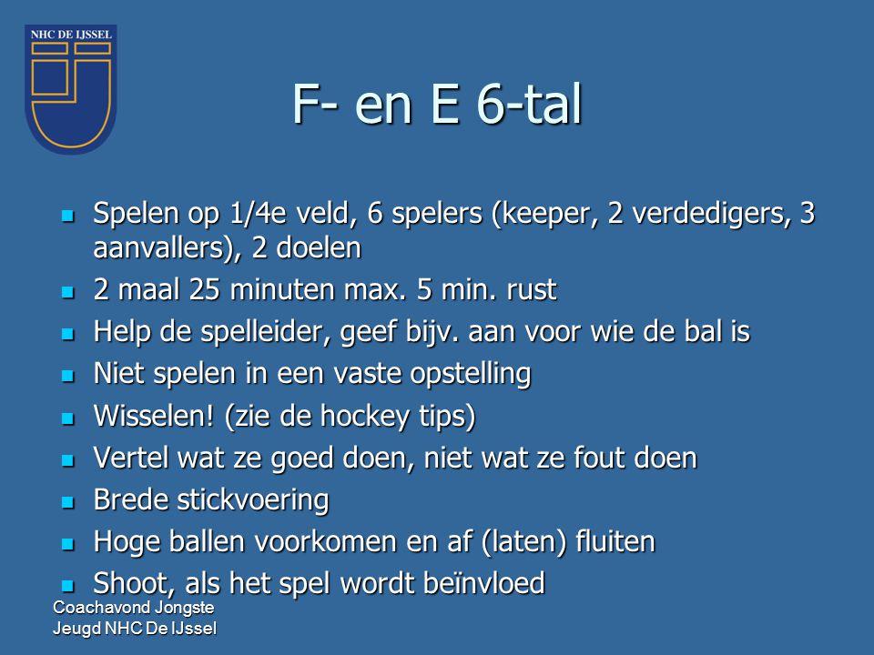 F- en E 6-tal  Spelen op 1/4e veld, 6 spelers (keeper, 2 verdedigers, 3 aanvallers), 2 doelen  2 maal 25 minuten max. 5 min. rust  Help de spelleid
