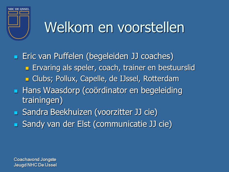 Welkom en voorstellen  Eric van Puffelen (begeleiden JJ coaches)  Ervaring als speler, coach, trainer en bestuurslid  Clubs; Pollux, Capelle, de IJ