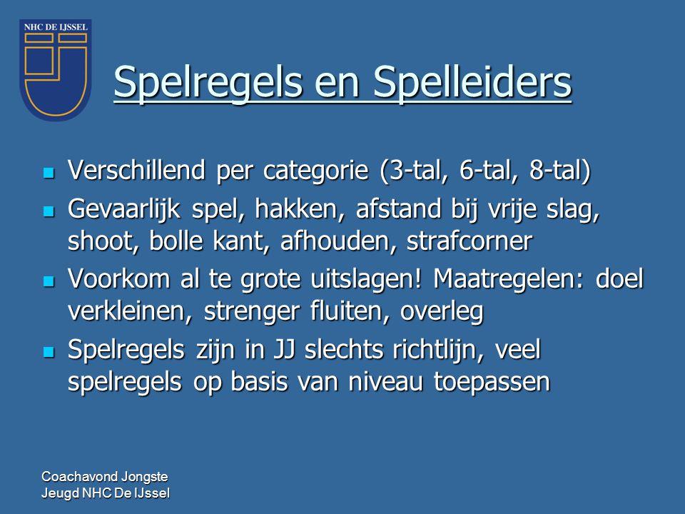 Coachavond Jongste Jeugd NHC De IJssel Spelregels en Spelleiders  Verschillend per categorie (3-tal, 6-tal, 8-tal)  Gevaarlijk spel, hakken, afstand