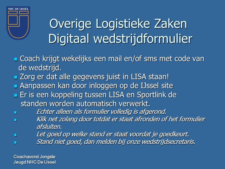 Coachavond Jongste Jeugd NHC De IJssel  Coach krijgt wekelijks een mail en/of sms met code van de wedstrijd. de wedstrijd.  Zorg er dat alle gegeven