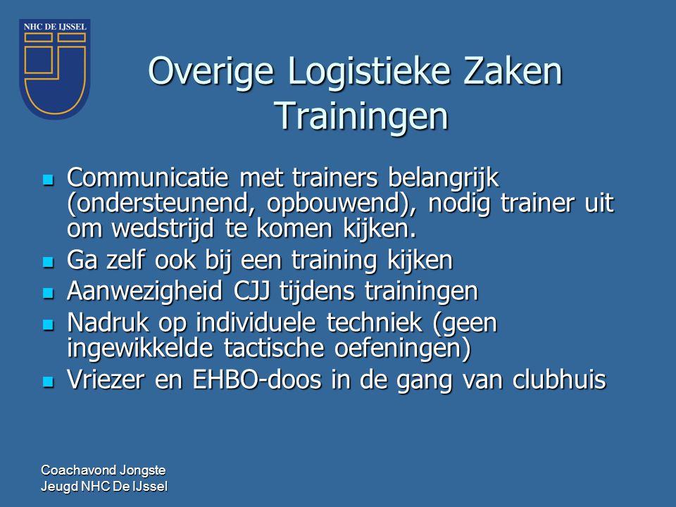 Coachavond Jongste Jeugd NHC De IJssel Overige Logistieke Zaken Trainingen  Communicatie met trainers belangrijk (ondersteunend, opbouwend), nodig tr