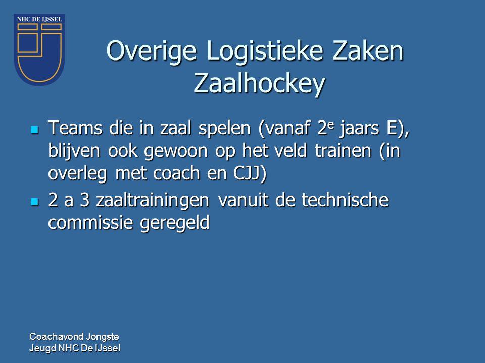 Coachavond Jongste Jeugd NHC De IJssel Overige Logistieke Zaken Zaalhockey  Teams die in zaal spelen (vanaf 2 e jaars E), blijven ook gewoon op het v