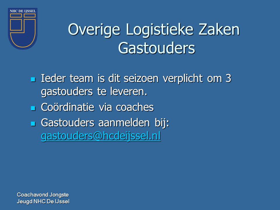 Coachavond Jongste Jeugd NHC De IJssel Overige Logistieke Zaken Gastouders  Ieder team is dit seizoen verplicht om 3 gastouders te leveren.  Coördin
