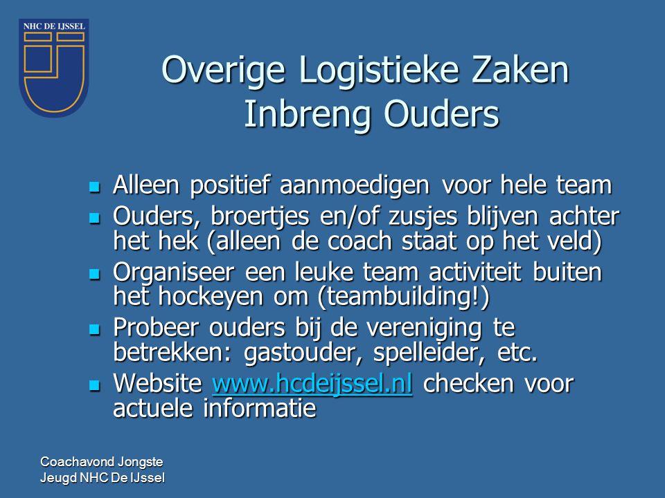 Coachavond Jongste Jeugd NHC De IJssel Overige Logistieke Zaken Inbreng Ouders  Alleen positief aanmoedigen voor hele team  Ouders, broertjes en/of