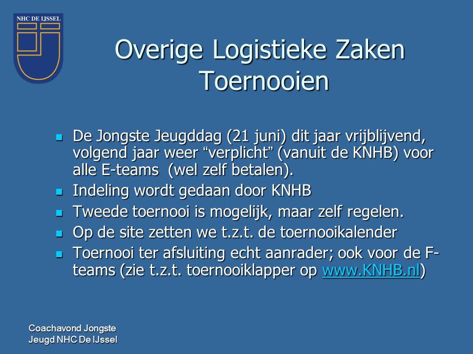 """Coachavond Jongste Jeugd NHC De IJssel Overige Logistieke Zaken Toernooien  De Jongste Jeugddag (21 juni) dit jaar vrijblijvend, volgend jaar weer """"v"""