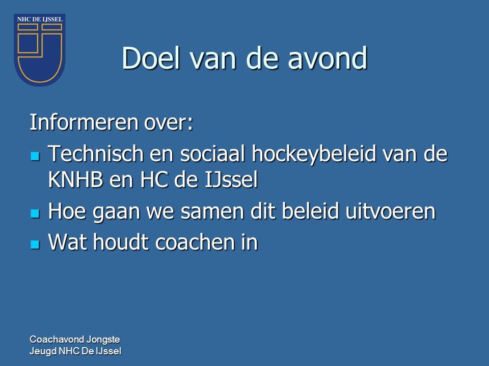 Doel van de avond Informeren over:  Technisch en sociaal hockeybeleid van de KNHB en HC de IJssel  Hoe gaan we samen dit beleid uitvoeren  Wat houd