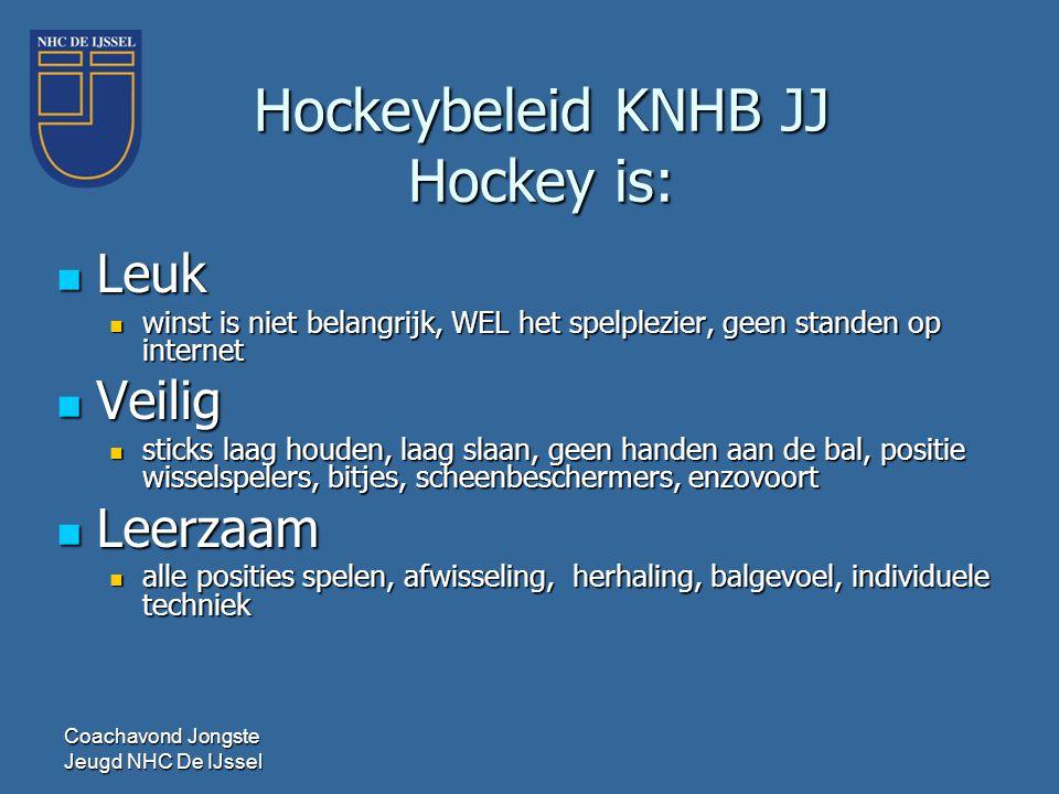Hockeybeleid KNHB JJ Hockey is:  Leuk  winst is niet belangrijk, WEL het spelplezier, geen standen op internet  Veilig  sticks laag houden, laag s