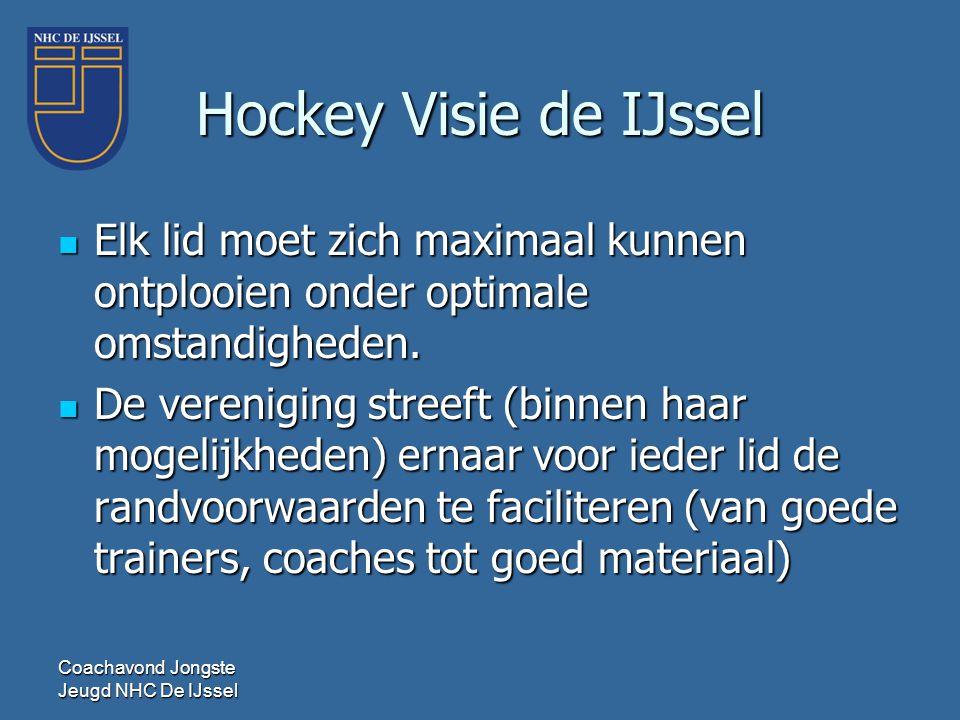 Hockey Visie de IJssel  Elk lid moet zich maximaal kunnen ontplooien onder optimale omstandigheden.  De vereniging streeft (binnen haar mogelijkhede