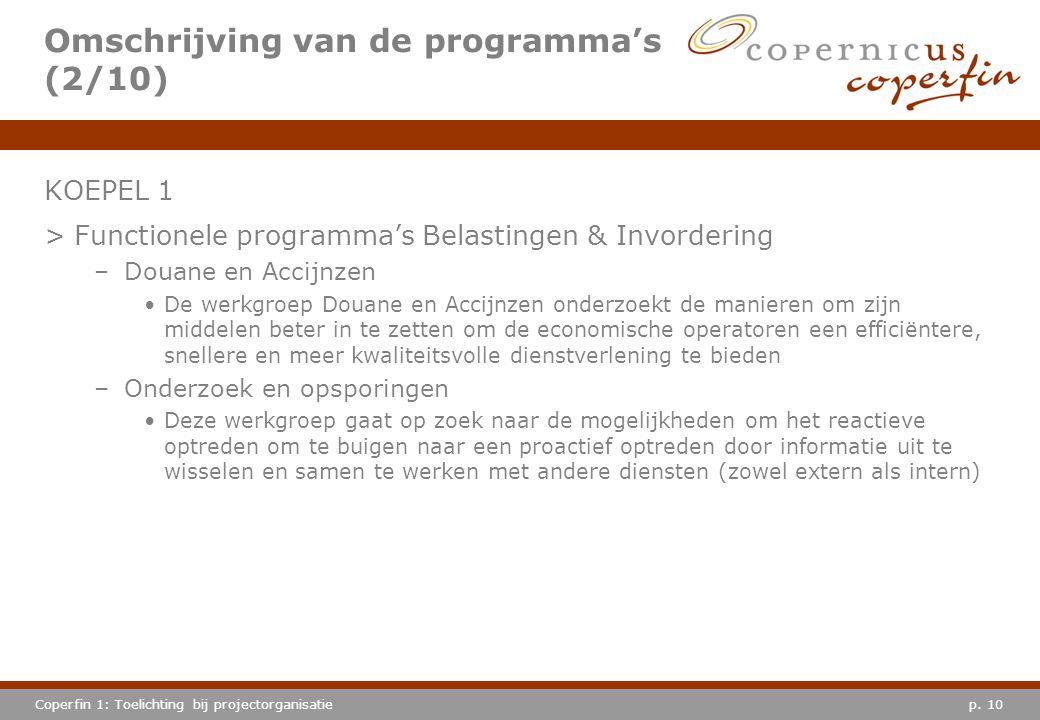 p. 10Coperfin 1: Toelichting bij projectorganisatie Omschrijving van de programma's (2/10) KOEPEL 1 >Functionele programma's Belastingen & Invordering