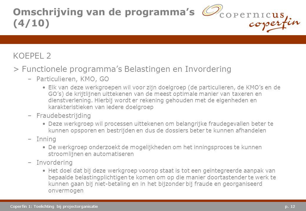 p. 12Coperfin 1: Toelichting bij projectorganisatie Omschrijving van de programma's (4/10) KOEPEL 2 >Functionele programma's Belastingen en Invorderin