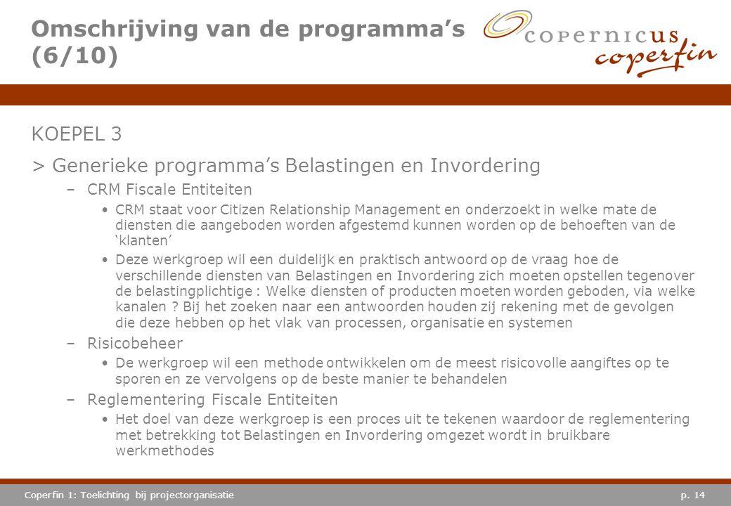 p. 14Coperfin 1: Toelichting bij projectorganisatie Omschrijving van de programma's (6/10) KOEPEL 3 >Generieke programma's Belastingen en Invordering