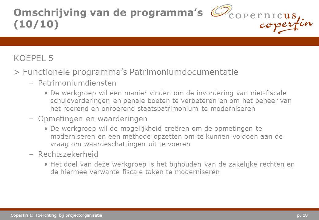 p. 18Coperfin 1: Toelichting bij projectorganisatie Omschrijving van de programma's (10/10) KOEPEL 5 >Functionele programma's Patrimoniumdocumentatie