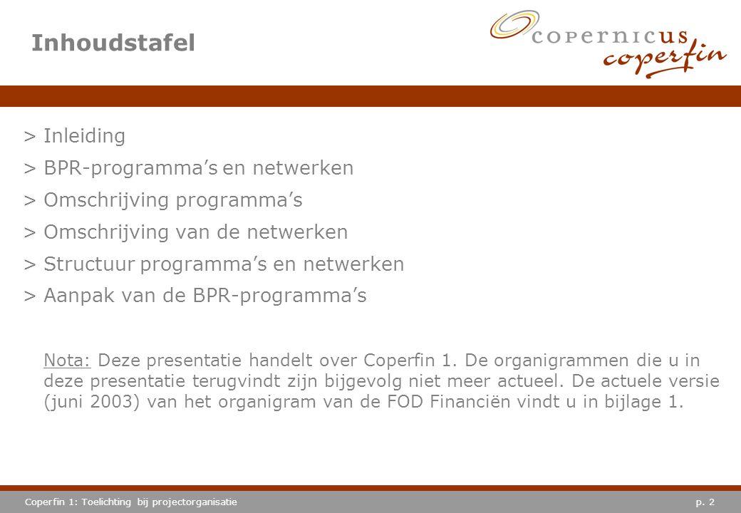 p. 2Coperfin 1: Toelichting bij projectorganisatie Inhoudstafel >Inleiding >BPR-programma's en netwerken >Omschrijving programma's >Omschrijving van d