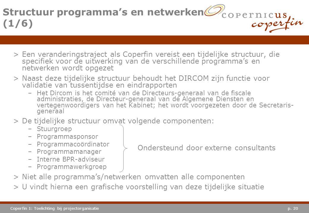 p. 20Coperfin 1: Toelichting bij projectorganisatie Structuur programma's en netwerken (1/6) >Een veranderingstraject als Coperfin vereist een tijdeli