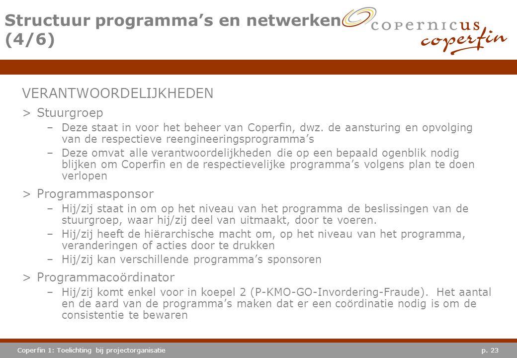 p. 23Coperfin 1: Toelichting bij projectorganisatie Structuur programma's en netwerken (4/6) VERANTWOORDELIJKHEDEN >Stuurgroep –Deze staat in voor het