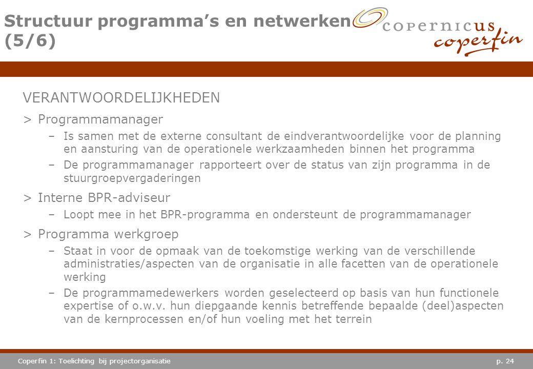 p. 24Coperfin 1: Toelichting bij projectorganisatie Structuur programma's en netwerken (5/6) VERANTWOORDELIJKHEDEN >Programmamanager –Is samen met de