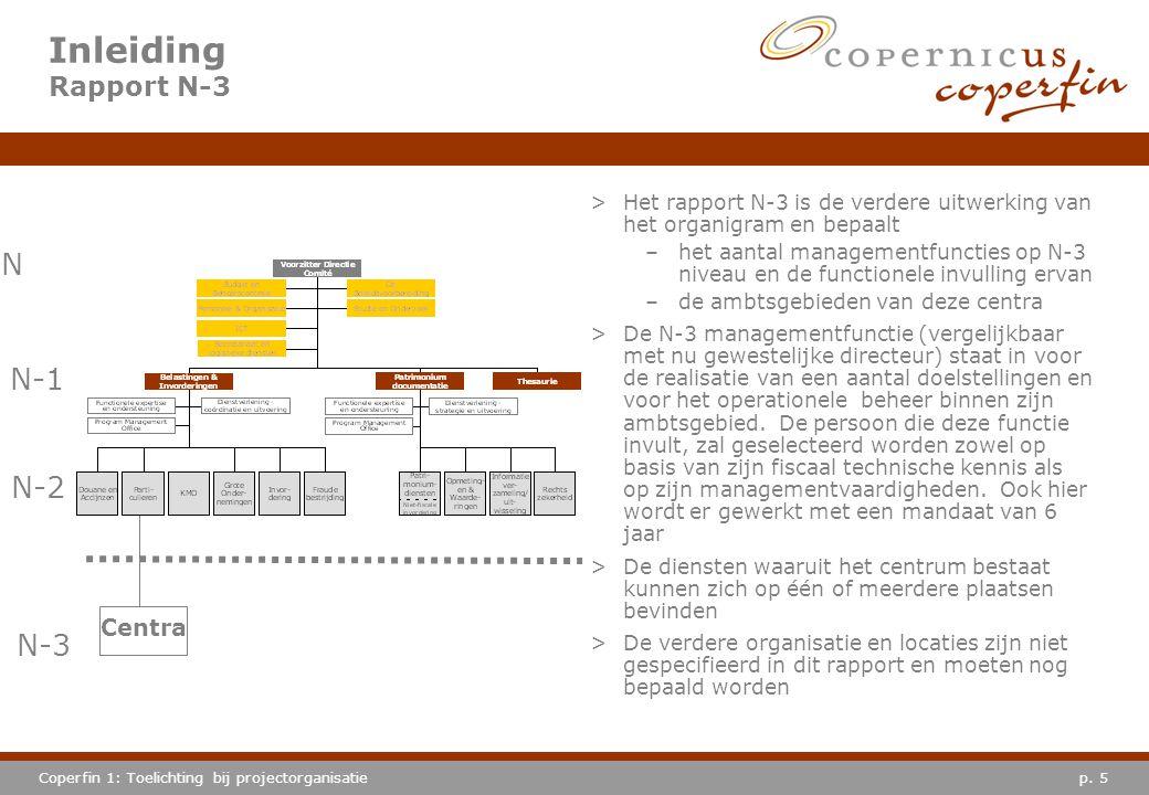p. 5Coperfin 1: Toelichting bij projectorganisatie Inleiding Rapport N-3 >Het rapport N-3 is de verdere uitwerking van het organigram en bepaalt –het