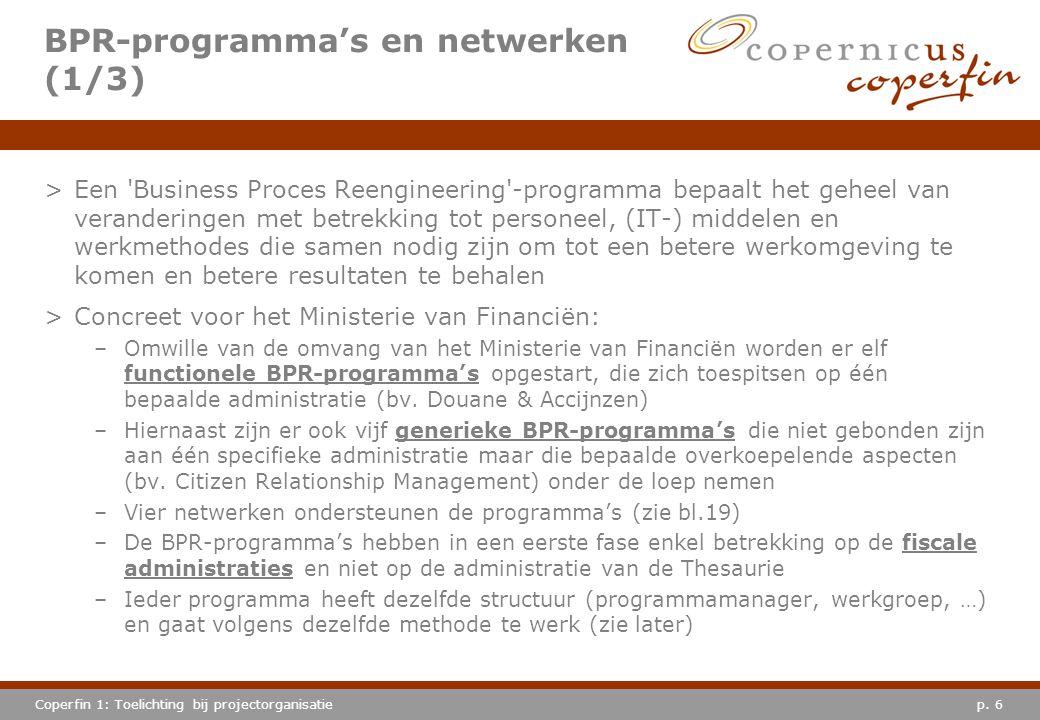 p. 6Coperfin 1: Toelichting bij projectorganisatie >Een 'Business Proces Reengineering'-programma bepaalt het geheel van veranderingen met betrekking