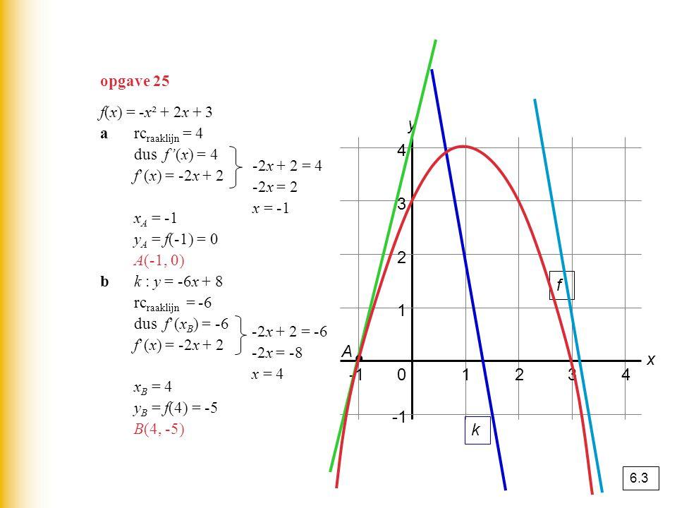 01234 1 2 3 4 y x f(x) = -x² + 2x + 3 arc raaklijn = 4 dus f'(x) = 4 f'(x) = -2x + 2 x A = -1 y A = f(-1) = 0 A(-1, 0) bk : y = -6x + 8 rc raaklijn =