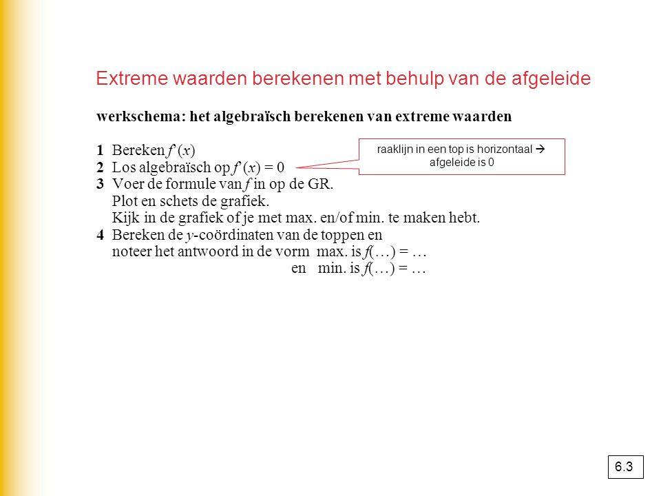 werkschema: het algebraïsch berekenen van extreme waarden 1 Bereken f'(x) 2 Los algebraïsch op f'(x) = 0 3 Voer de formule van f in op de GR. Plot en